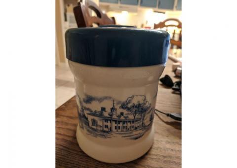 Vintage Boston Paul Revere  blue and white milk glass canister.